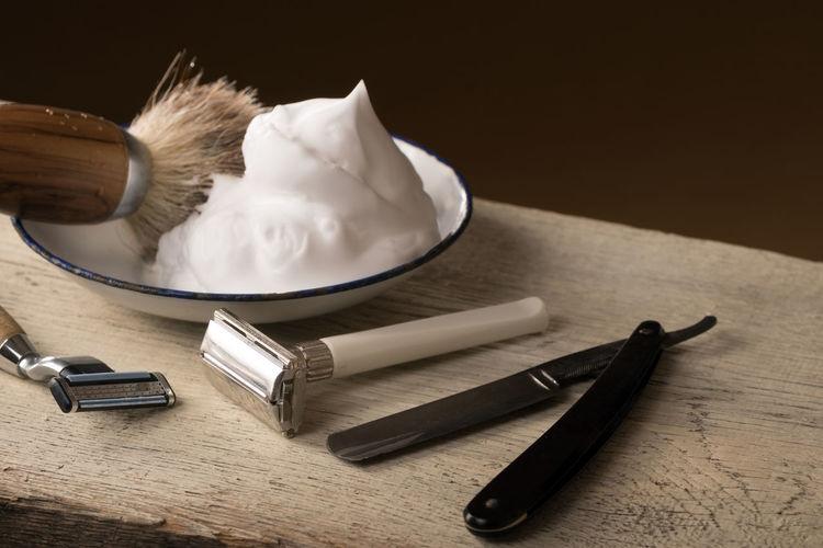 Barber Barbershop Beard Close-up Day Depilation Equipment Hygiene Indoors  Indoors  Man Men No People Razor Retro Retro Style Shave Shaver Shaving Shaving Brush Still Life Table Vintage Wood Wood - Material