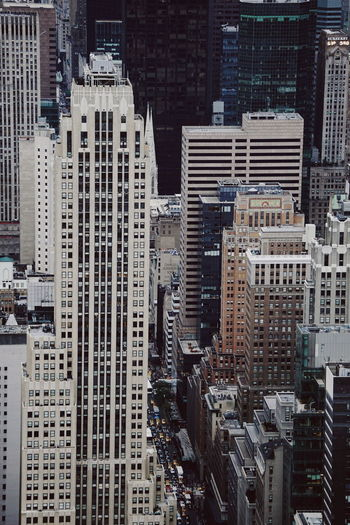 High angle view of skyscrapers