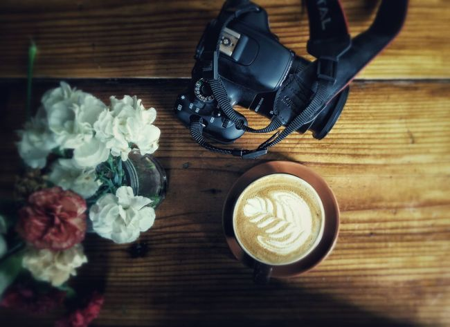 Coffee Coffee Time Cappuccino Canon DSLR Canonrebelt3i Cafe San Francisco Flowers Table Wood - Material Traveling Travel Photography Latteart Rosetta Barista