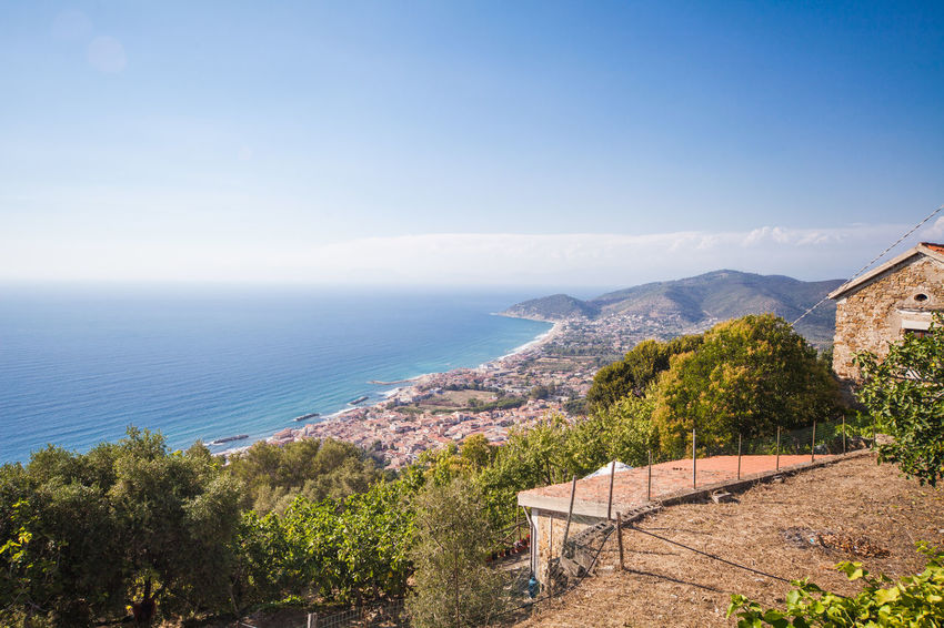 View of Castellabate town in province of Salerno Beauty In Nature Blue Campania Castellabate Day Horizon Over Water Italy Mediterranean  Mountain Nature No People Outdoors Salerno Scenics Sea Sky Tranquil Scene Travel Destinations Water
