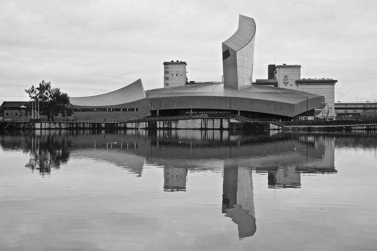 Imperial War Museum North, Manchester Architecture Black And White Building Exterior Built Structure Canals Cloudy Imperial War Museum North Manchester No People Outdoors Reflection Water