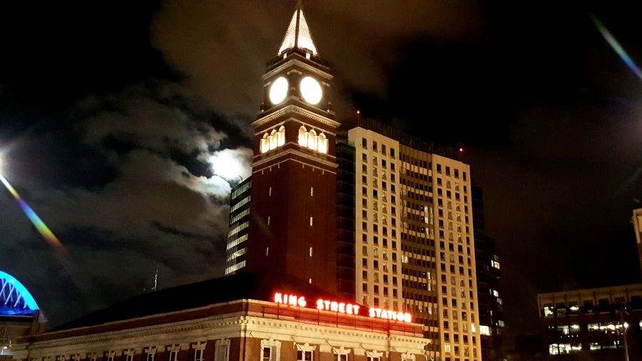 King Street Station Night Architecture Building Exterior City No People Clock Clock Face Sky Moon Light Moon Train Staition King Street Station First Eyeem Photo