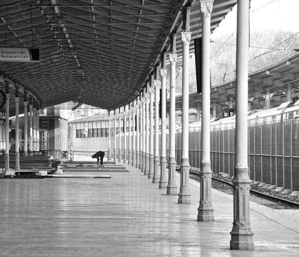 Eski Sirkeci Garı-Marmaray Metro iİstasyonu Bw_collection Architecture Architectural Column Built Structure One Person Statian Garden Sirkecigarı Türkiye Istanbul Trenstation