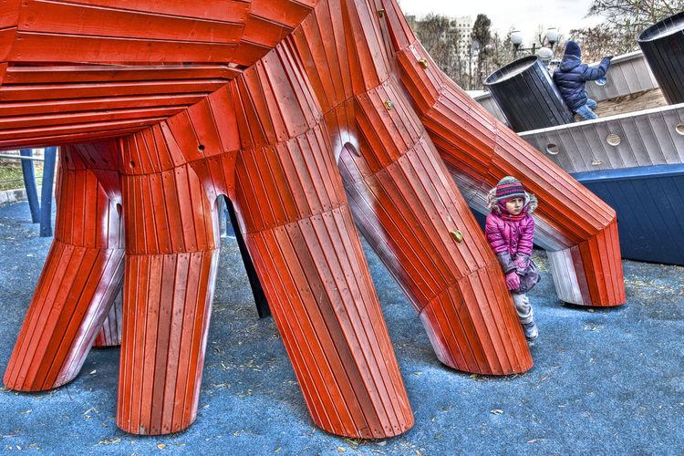 Activity Adults Autumn Day Blau Und Rot Blue And Red Children Children Playing Cold Outside Day Erwachsene Fun Gorky Park (Moscow) Herbsttag Kinder MONSTRUM_Denmark Moscovites Moskau Moskauer Outdoors People Playground Playground Equipment Spielplatz Surreal Surreal_manipulation