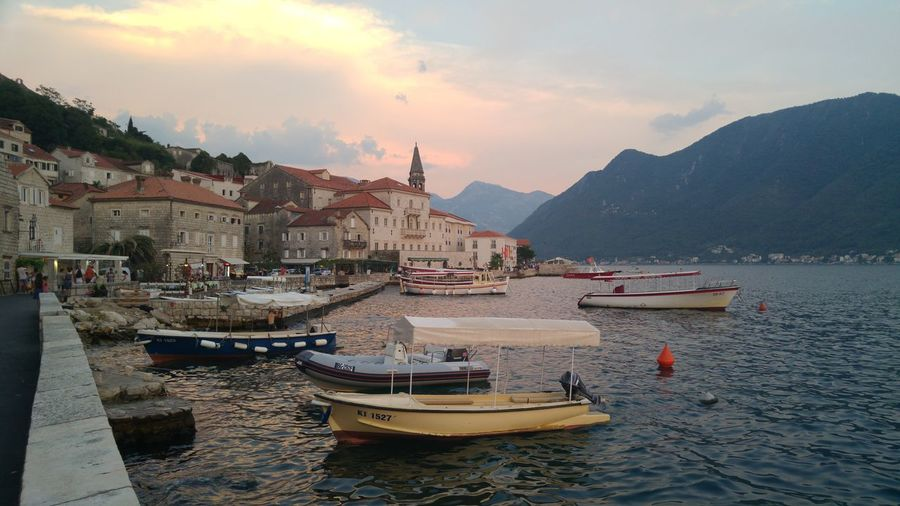 Sunset in Perast The Art Of Street Photography My Best Photo Urbanana: The Urban Playground Beautiful Montenegro Travel Photography Montenegro Idilyc Village Beautiful Places Taking Photos 3XPUnity Close-up Boats Architecture And Art Façade Reflections In The Water Reflection Photography Beautiful Places Around The World Water Sky Historic Ancient History