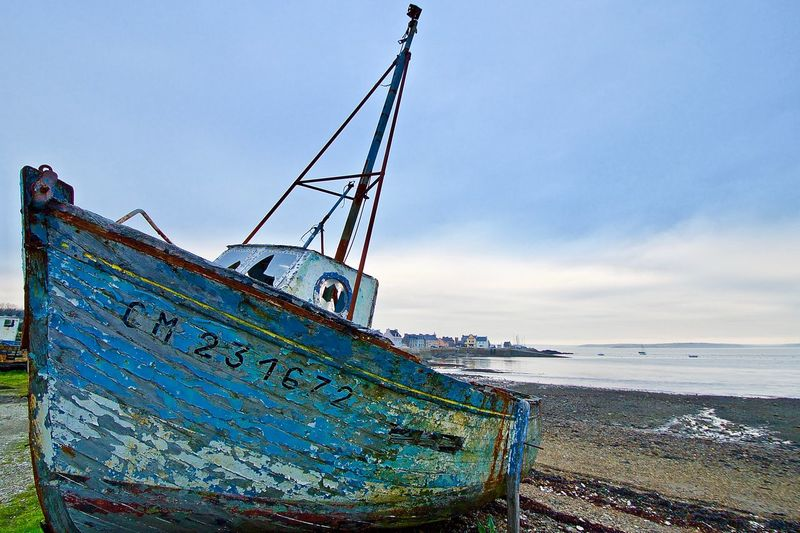 Abandoned Beach Beauty In Nature Blue Bretagne Bretagne France Bretagne Lovers Bretagne My Love Bretagnetourisme Brittany Day Horizon Over Water Mode Of Transport Nautical Vessel No People Old Boat Old Boats Ruins Outdoors Sea Sky Water