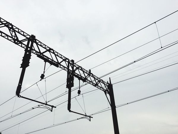 Railway Train Station Electric Wire Electricity  Metal Beams Cables Infrastructure Public Transportation