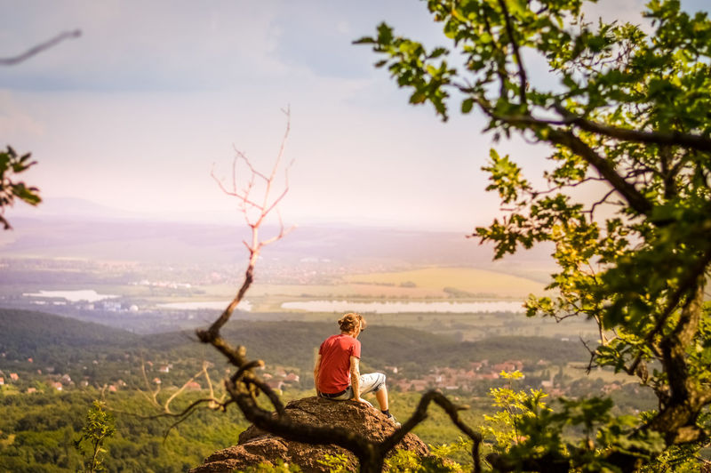 Man sitting on tree looking at mountain against sky
