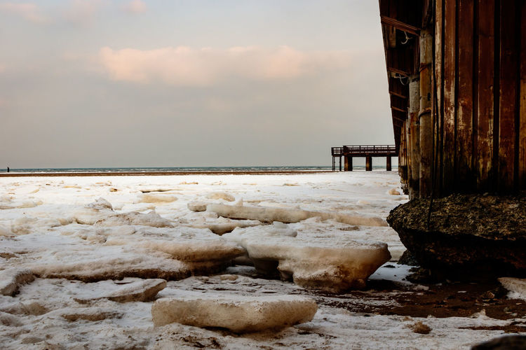 Frozen Hebei Ice Pier Seashore Winter Architecture Beach Beauty In Nature Beidaihe China Day Nature No People Outdoors Qinhuangdao Scenics Sea Seascape Seaside Sky Snow Tranquility Water