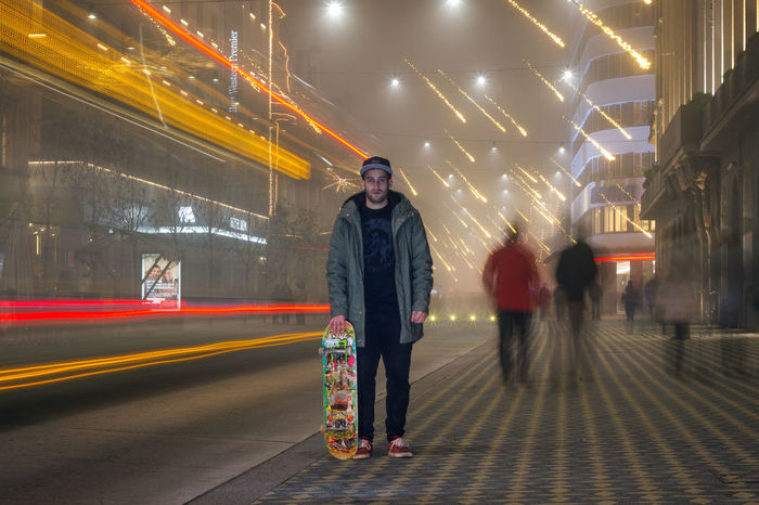 Action Casual Clothing City Life Creative Illuminated Lifestyles Light Trail Lights Long Exposure Night Portrait Skateboarding Sport The Portraitist - 20I6 EyeEm Awards Winter