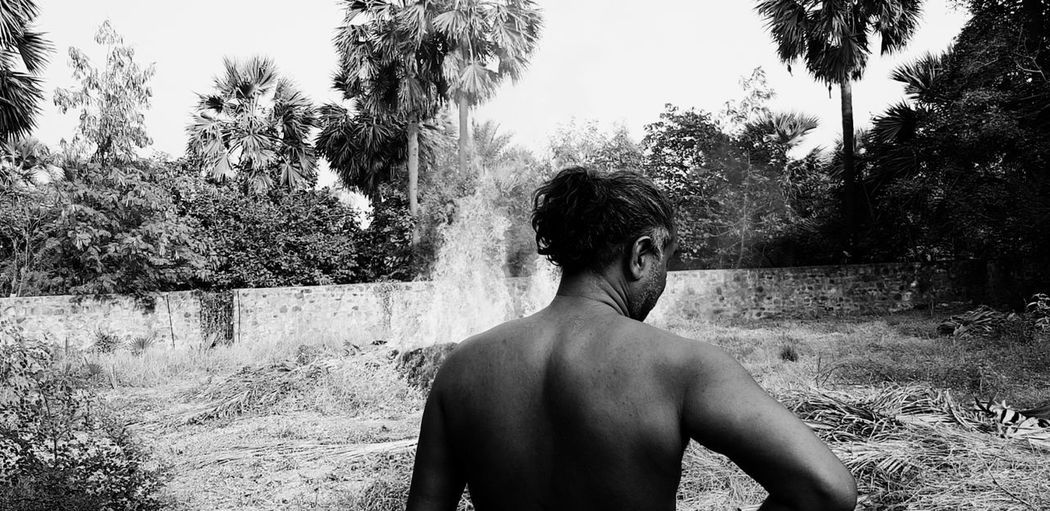 Rear view of shirtless man standing against trees