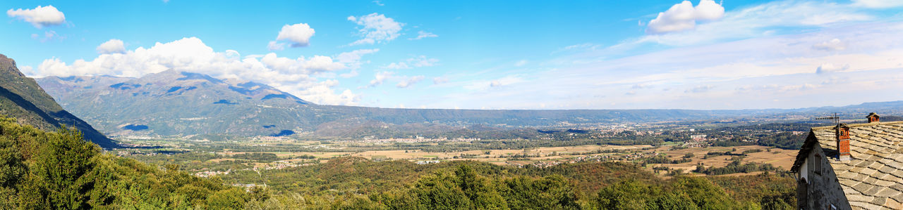 Panoramic view of the Serra of Ivrea, a long hill created during the last ice age Canavese Canoe Canoeing Dora Italy Ivrea Olivetti