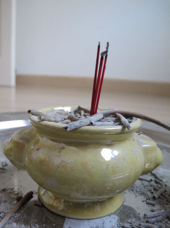 Close-up Day Incense Incense Pot Indoors  No People