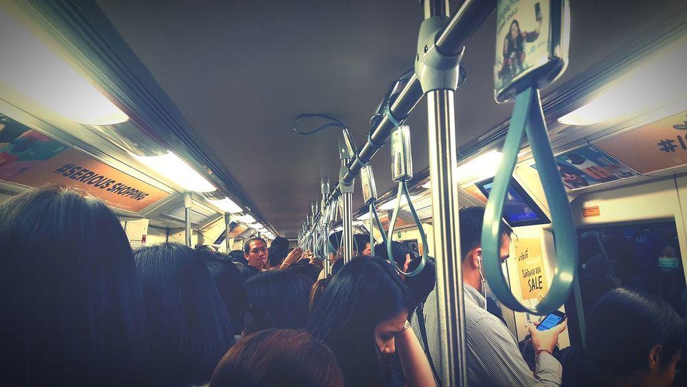 Rushhour Tried Transportation Skytrainbangkok MRT In Bangkok Rushhour EyeEmNewHere Respect Indoors  Illuminated Lifestyles Crowd