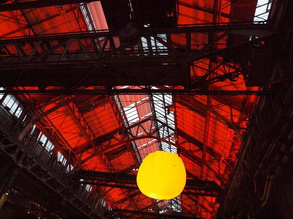 Architecture Bochum Extraschicht Illuminated Indoors  Industrial Culture Industriekultur Industrieromantik Industry Jahrhunderthalle Jahrhunderthalle | Bochum Low Angle View Red Ruhrgebiet RuhrgebietsRomantik Schachtzeichen Yellow
