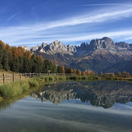 Reflection Nature Tranquility Scenics Water Tranquil Scene Sky Beauty In Nature Mountain Mountain Range Lake Dolomites, Italy Rosengarten Dolomites Dolomiti Landscape Reflection Autumn Herbst