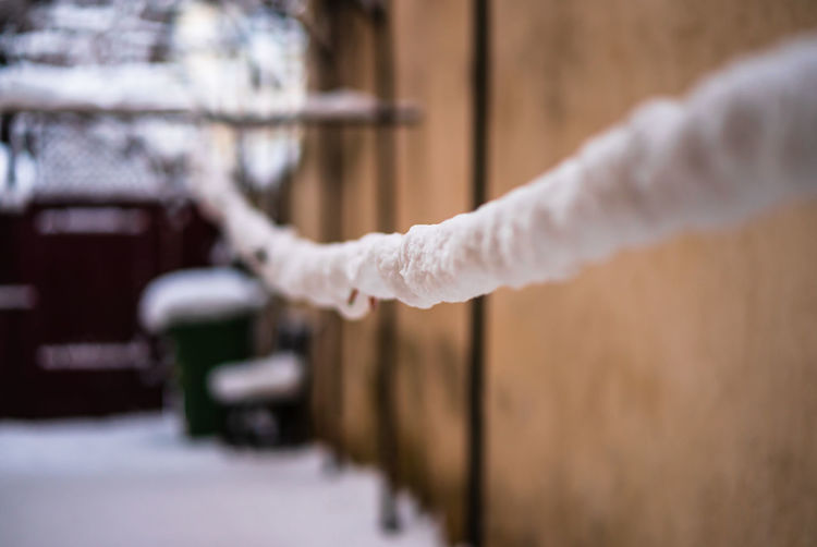 Close-up of frozen rope outdoors