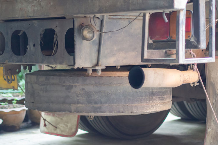 Close-up of exhaust pipe truck.