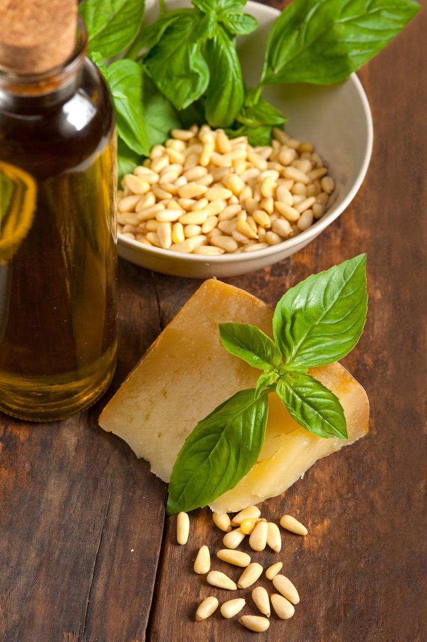 leaf, food and drink, pine nut, ingredient, food, basil, wood - material, herb, jar, freshness, indoors, healthy eating, bowl, olive oil, nut - food, no people, close-up