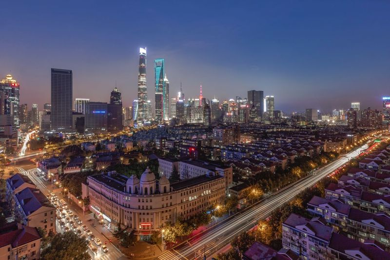 High angle view of shanghai cityscape at night