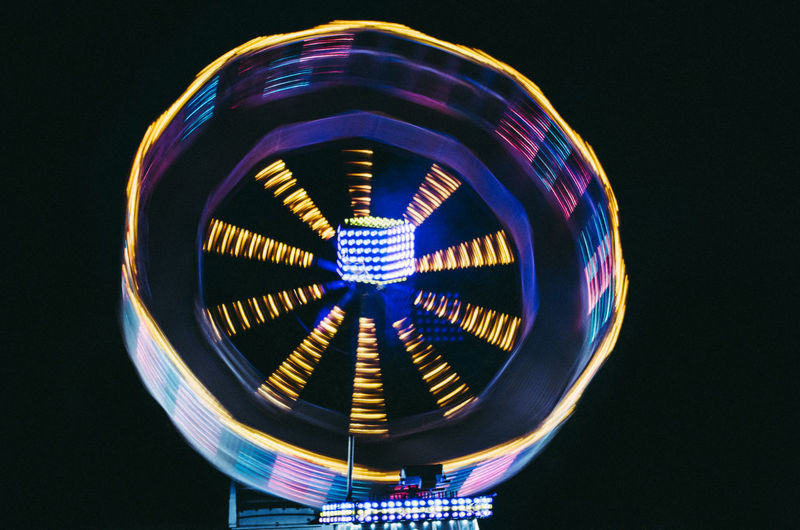 Black Background Carnival Close-up Electricity  Illuminated Long Exposure Night No People Outdoors Slow Shutter Spining Wheel