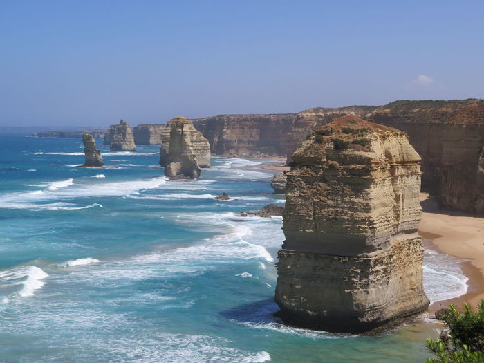 12 apostles rock formation port campbell national park, great ocean road, victoria, Australia 12 Apostles 12 Apostles, Australia Great Ocean Road Great Ocean Road, Australia Port Campbell Blue Clear Sky Eroded Land Nature Ocean Outdoors Rock Rock - Object Rock Formation Scenics - Nature Sea Seascape Sky Solid Stack Rock Tranquil Scene Tranquility Travel Destinations Water
