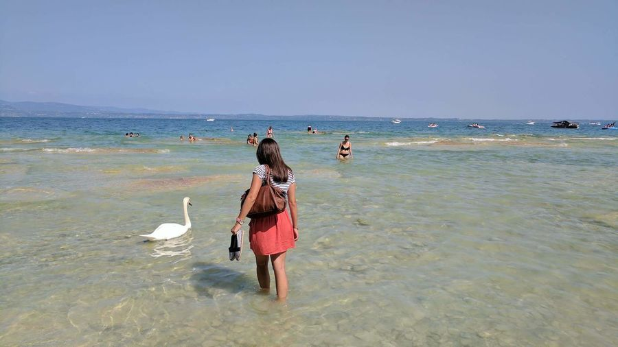 Beach Sea Sand Water Horizon Over Water Full Length Adults Only Adult Day People Nature Only Women Wave Vacations Outdoors Sky Women Beauty In Nature Bird Swans Swan Sirmione Sirmione Italy Sirmione Lake Lago Di Garda