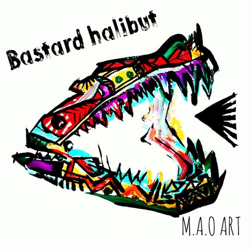 Maoart Art Paint Fishing Bastard 鮃 平目 骨 T Shirt Design