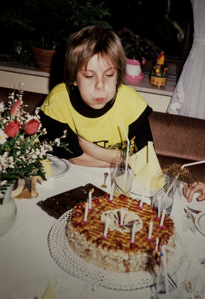 80ies Birthday Birthday Cake Birthday Party Blowing Candles Candles Childhood Portrait Showing Imperfection Vintage Fresh On Eyeem
