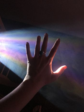 Iridescent  Reaching Out Touch Dream Experience Zoom Projector Rainbow Smoke - Physical Structure Vapor Smoke Illumination Illuminated Human Hand Human Finger Real People Indoors  One Person Gesturing Human Body Part