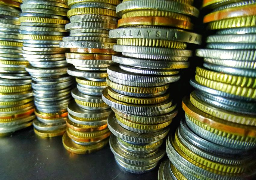 Row of Malaysia coins currancy Coin Savings Currency Stack Gold Colored Backgrounds Finance Wealth Gold Banking Ingot Bank Account Bank Coin Bank Loan  Exchange Rate Currency Symbol Bringing Home The Bacon Financial Item European Union Coin Global Finance
