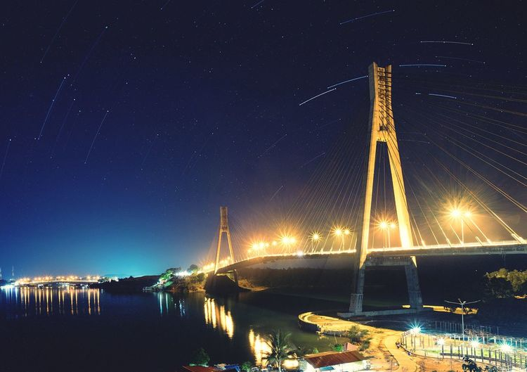 Star Trails over Batam Island Milky Way Barelang Bridge Batamisland Night Star - Space Illuminated Astronomy Sky Space Water No People Bridge - Man Made Structure Beauty In Nature Architecture Galaxy Space And Astronomy Built Structure Star Field Constellation Star Scenics - Nature Nature Transportation