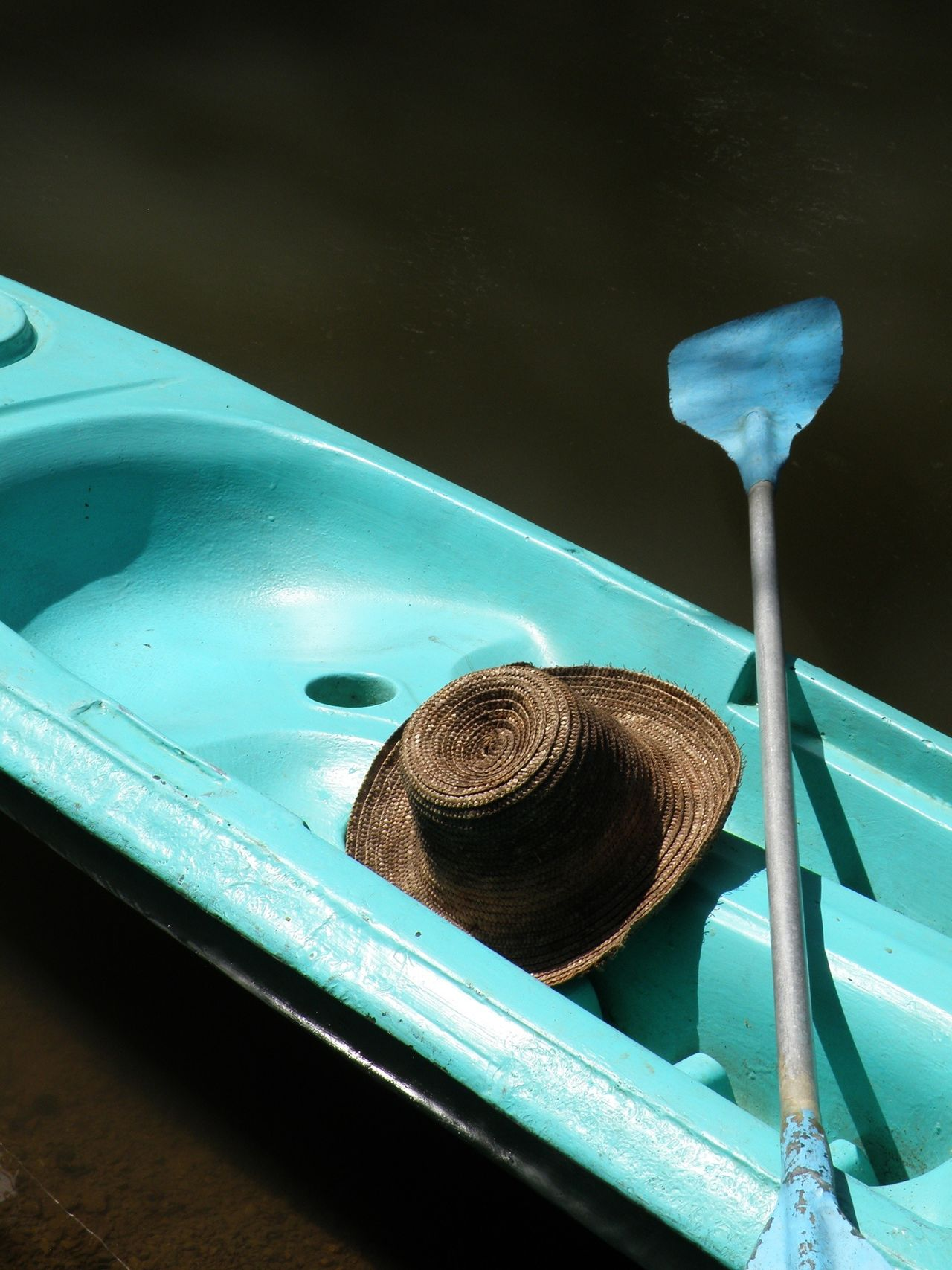 High angle view of hat on turquoise color kayaking
