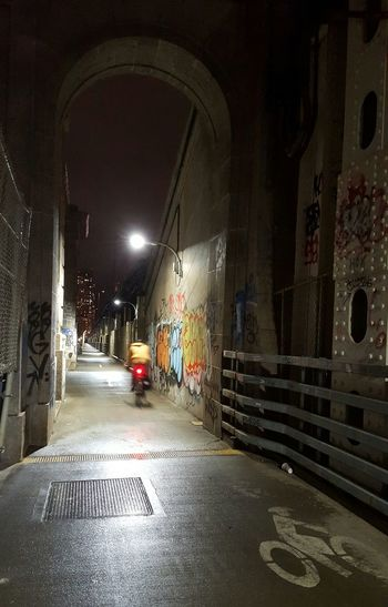 Learn & Shoot: After Dark Night Riding Night Cycling Manhattan Bridge TaggedWalls Cycling Path