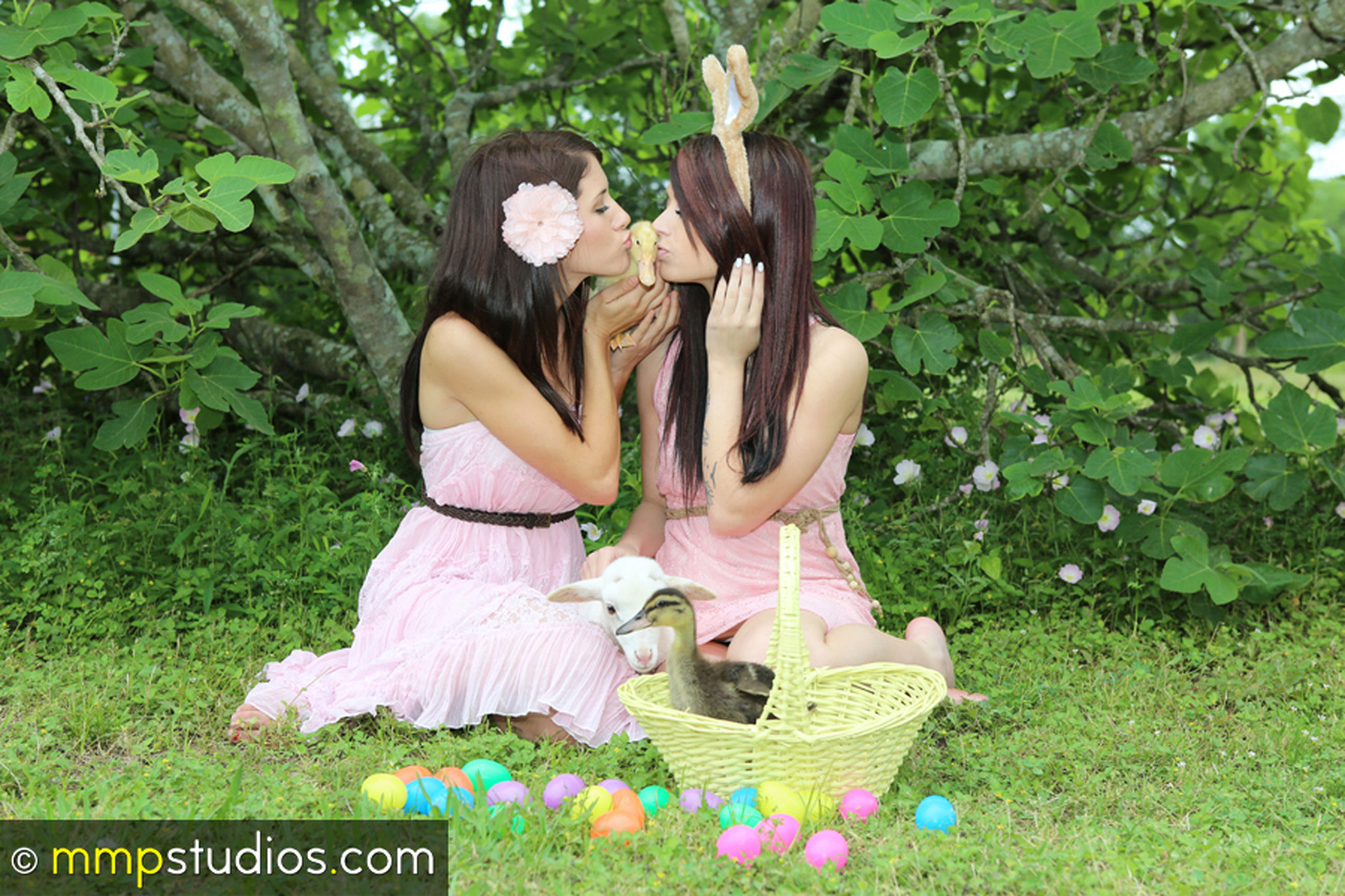 plant, flower, grass, women, flowering plant, togetherness, two people, nature, real people, young women, celebration, day, green color, love, young adult, females, emotion, full length, leisure activity, basket, couple - relationship, positive emotion, outdoors