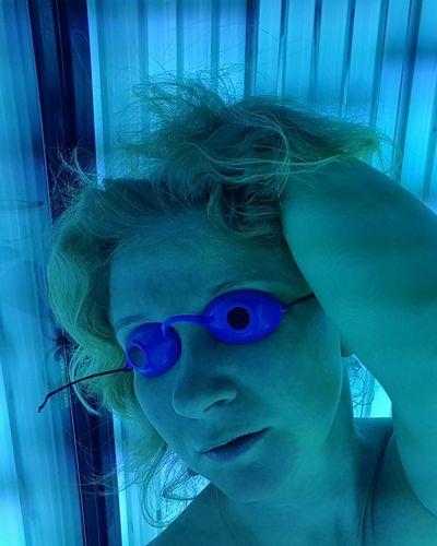 Artificial Light Blue Suntanned