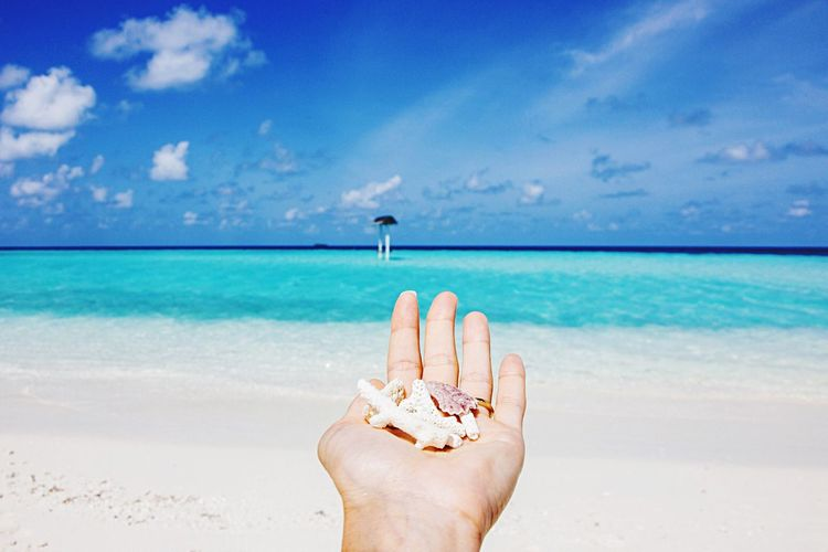 Midsection of person hand on beach against blue sky