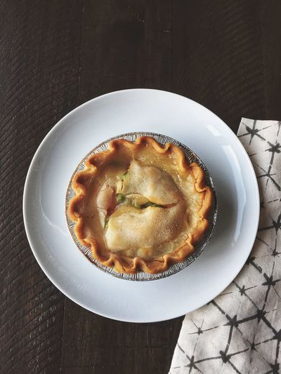 Finally found a chicken pot pie that's dairy and gluten free. Takes me back to being a kid. Dairy Free Gluten Free Chicken Pot Pie Pot Pie Childhood Memories Comfort Foods Chicken Food And Drink Food Freshness Plate Table Still Life Ready-to-eat High Angle View Directly Above Indoors  Baked No People