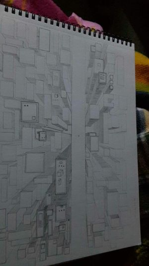 ArtWork Drawing Aerial View Onepointperspective