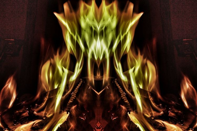 """Balam"": in demonology, Balam is one of the great and powerful kings in Hell. Fire Portraiture. Balam Demonology Demonic Entities King In Hell Hot Flames Fire Fire Portraits Burningflame Illuminated Symmetry No People Heaven And Hell Horror And Fantasy Nawfal Johnson Brust To Reign In Hell Abstract Black Background"
