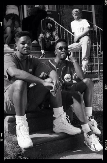 People Will Smith and Jazzy J chillin on the streets of Philly Black & White