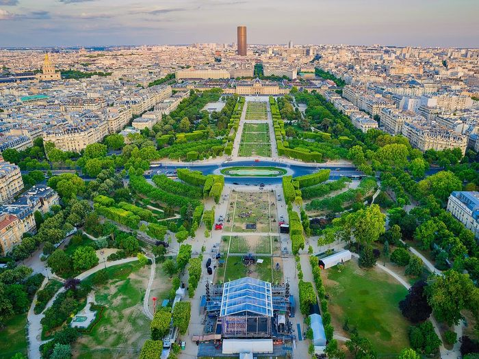 High angle view of buildings in the city of paris.