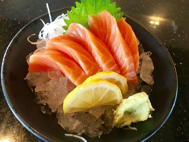 Freshness Seafood Food And Drink Food Japanese Food Still Life Salmon Healthy Eating Sashimi  Raw Food Fish Indoors  No People Sushi High Angle View SLICE Close-up Day