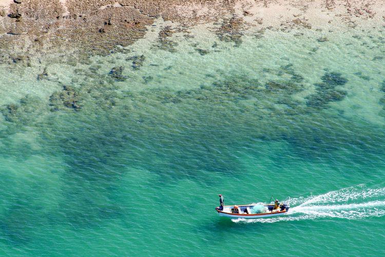 Boat sailing on sea