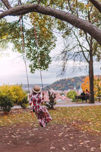 Be. Ready. Tree Autumn Full Length Two People Day Leisure Activity Real People Togetherness Outdoors Swing Leaf Rope Swing Bonding Nature Playing Branch Sitting Prague Prague Czech Republic EyeEm Best Shots EyeEmNewHere EyeEm Nature Lover Young Women EyeEm Gallery