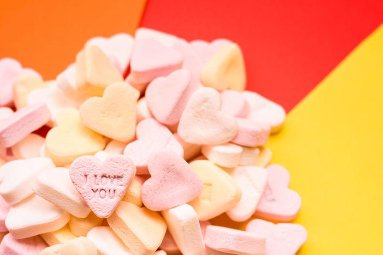 Close-up of heart shape cake