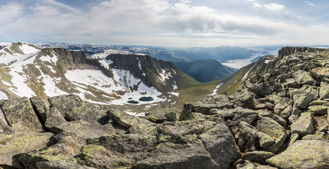 Panoramic view from summit of Melderskin Adventure Fjord Hiking Horizon Over Land Lake Landscape Mountain Mountain Range Panorama Panoramic View Rock Rock Formation Rough Scenic Scenics Snow Summer Summertime Summit Valley View View From Above The KIOMI Collection The Great Outdoors - 2016 EyeEm Awards Hardangerfjorden