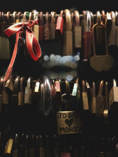 Butcher's Bridge, Ljubljana, at night. Locks Of Love Hanging Large Group Of Objects No People Illuminated Indoors  Close-up For Sale Variation Retail  Collection Arrangement Decoration Backgrounds Night Choice Still Life Full Frame A New Beginning