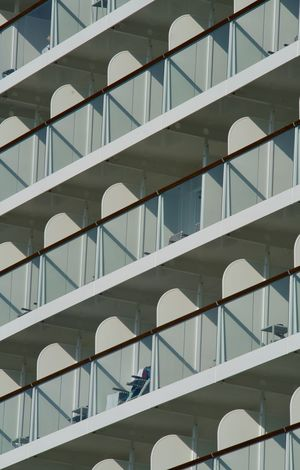 Luxury Liner Balconies Day Glass Graphic Structures Low Angle View Luxury Liner Outdoors White