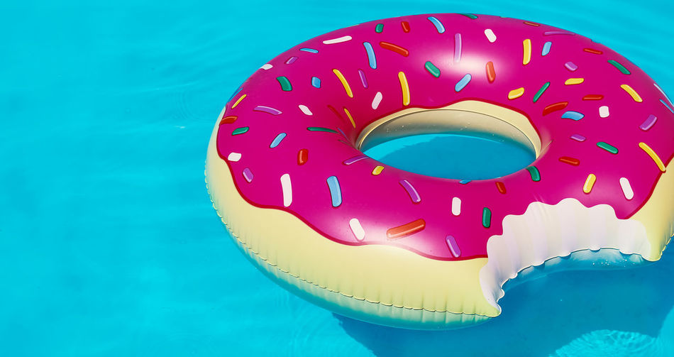 Blue Close-up Day Inflatable Donut Multi Colored No People Outdoors Swimming Pool Water shoted with Canon EOS 1100 d
